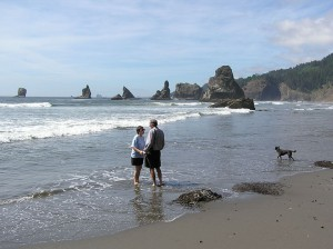 Couple at China Beach, south of Gold Beach